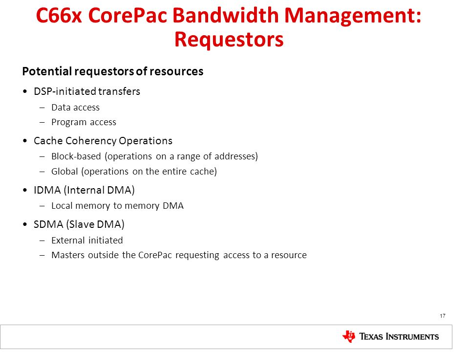 C66x CorePac Bandwidth Management: Requestors Potential requestors of resources DSP-initiated transfers –Data access –Program access Cache Coherency O
