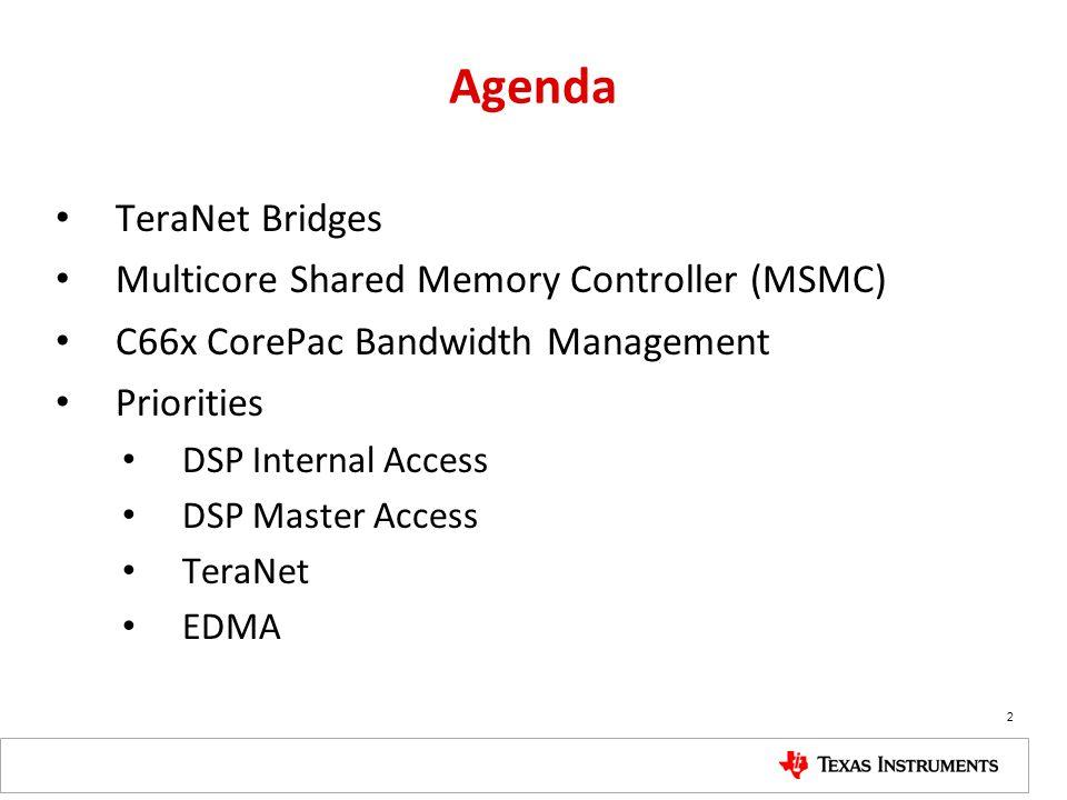 Agenda TeraNet Bridges Multicore Shared Memory Controller (MSMC) C66x CorePac Bandwidth Management Priorities DSP Internal Access DSP Master Access Te