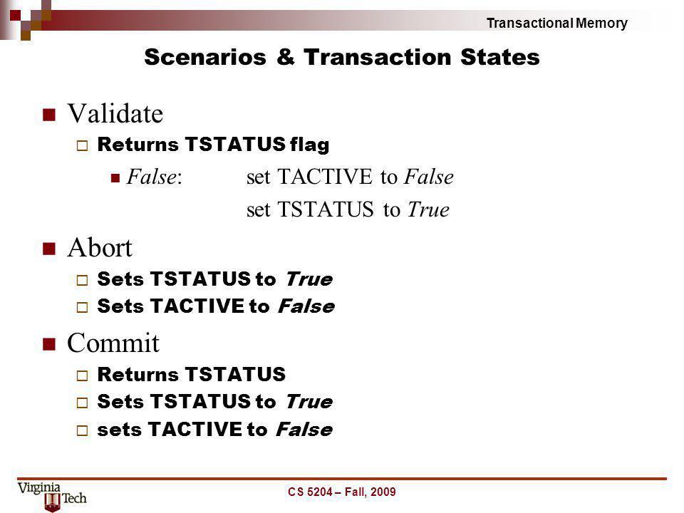 Transactional Memory Scenarios & Transaction States Validate Returns TSTATUS flag False:set TACTIVE to False set TSTATUS to True Abort Sets TSTATUS to