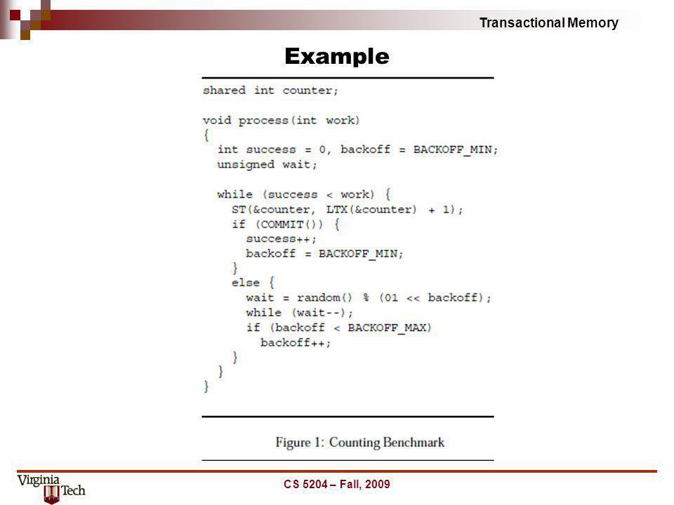 Transactional Memory Example CS 5204 – Fall, 2009