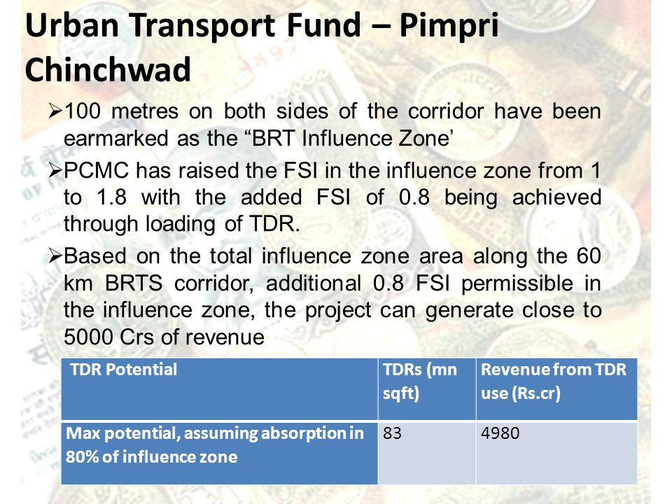 Urban Transport Fund – Pimpri Chinchwad 100 metres on both sides of the corridor have been earmarked as the BRT Influence Zone PCMC has raised the FSI