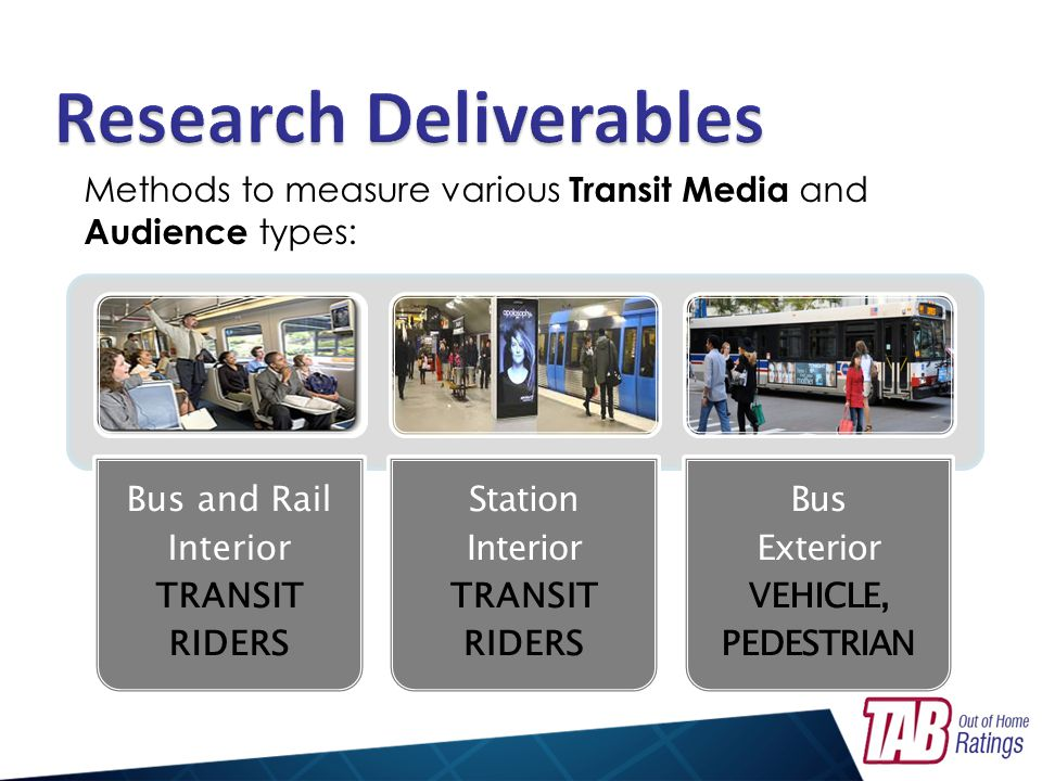 Bus and Rail Interior TRANSIT RIDERS Station Interior TRANSIT RIDERS Bus Exterior VEHICLE, PEDESTRIAN Methods to measure various Transit Media and Aud