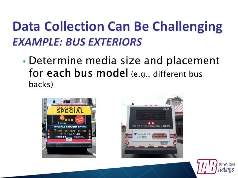 Determine media size and placement for each bus model (e.g., different bus backs)