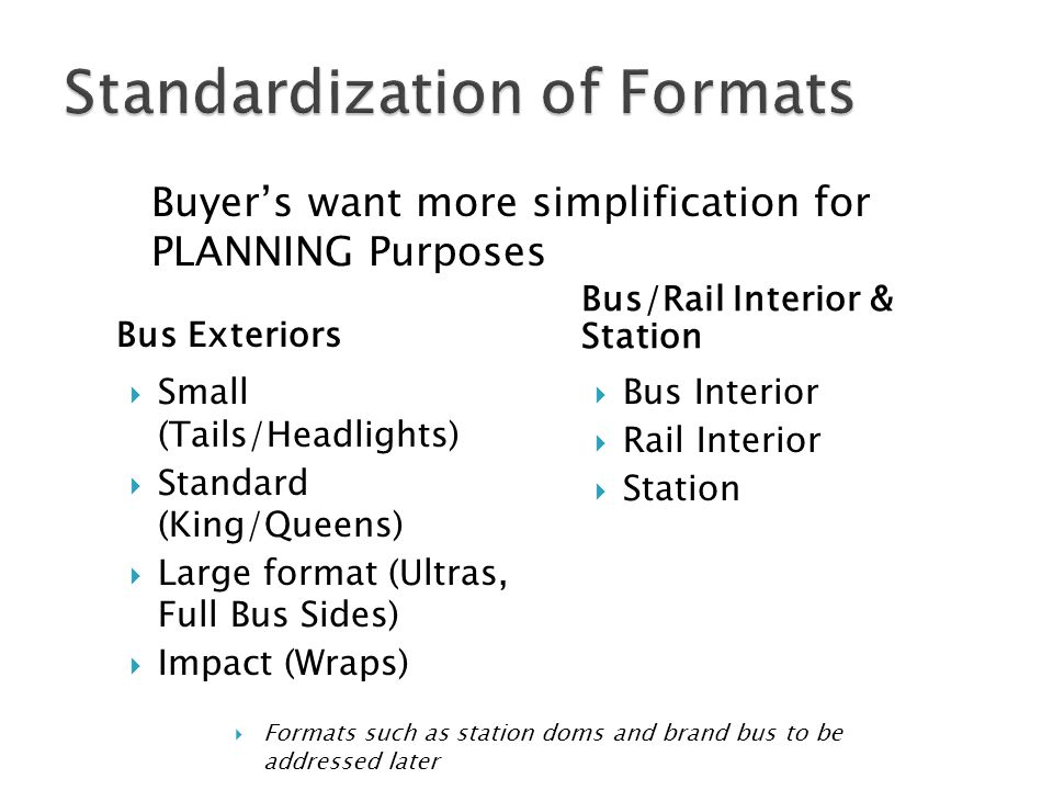 Bus Exteriors Bus/Rail Interior & Station Small (Tails/Headlights) Standard (King/Queens) Large format (Ultras, Full Bus Sides) Impact (Wraps) Bus Int