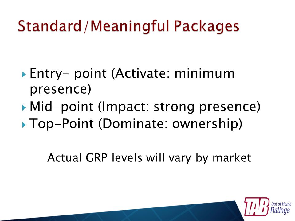 Entry- point (Activate: minimum presence) Mid-point (Impact: strong presence) Top-Point (Dominate: ownership) Actual GRP levels will vary by market