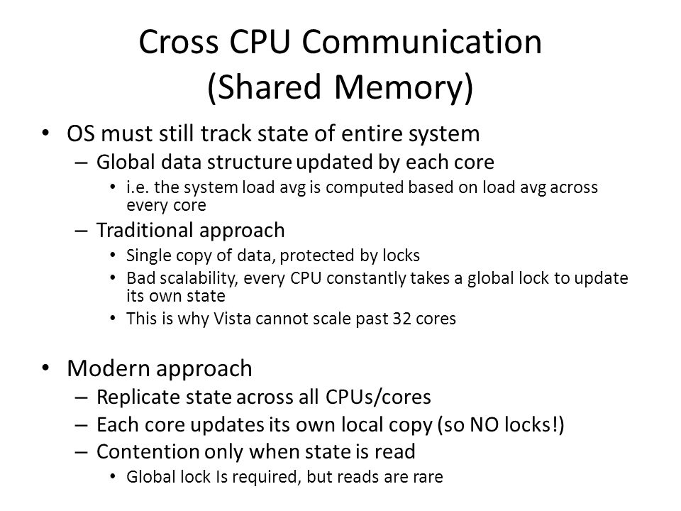Cross CPU Communication (Shared Memory) OS must still track state of entire system – Global data structure updated by each core i.e. the system load a