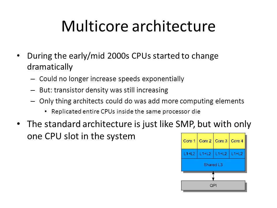 Multiprocessor-Multicores SMP with multicore CPUs – Multiple processor slots in system – Each slot hosts multiple CPU cores What does this mean for the OS.