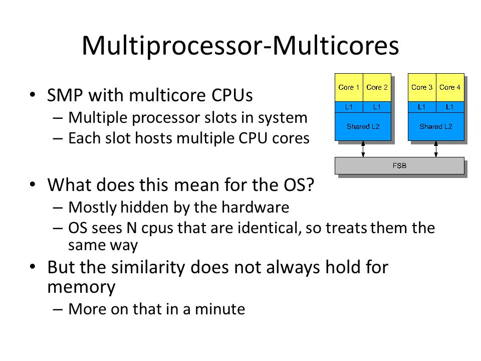Multiprocessor-Multicores SMP with multicore CPUs – Multiple processor slots in system – Each slot hosts multiple CPU cores What does this mean for th