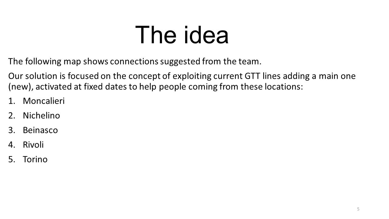 The idea The following map shows connections suggested from the team.