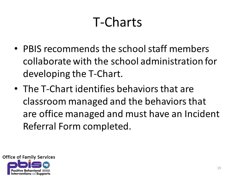 T-Charts PBIS recommends the school staff members collaborate with the school administration for developing the T-Chart.