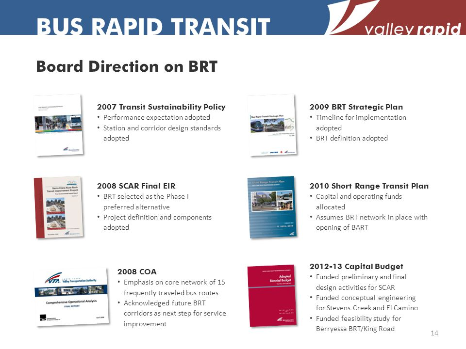 Board Direction on BRT 2008 SCAR Final EIR BRT selected as the Phase I preferred alternative Project definition and components adopted 2009 BRT Strategic Plan Timeline for implementation adopted BRT definition adopted 2007 Transit Sustainability Policy Performance expectation adopted Station and corridor design standards adopted 2008 COA Emphasis on core network of 15 frequently traveled bus routes Acknowledged future BRT corridors as next step for service improvement 2010 Short Range Transit Plan Capital and operating funds allocated Assumes BRT network in place with opening of BART 2012-13 Capital Budget Funded preliminary and final design activities for SCAR Funded conceptual engineering for Stevens Creek and El Camino Funded feasibility study for Berryessa BRT/King Road 14