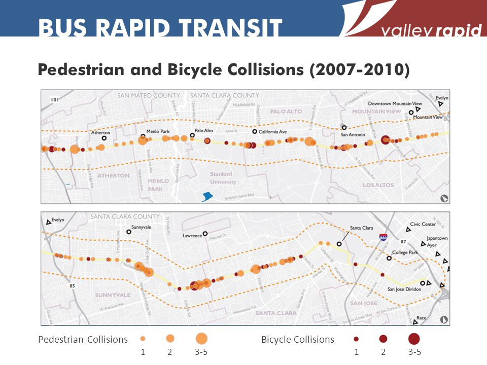 Pedestrian and Bicycle Collisions (2007-2010) BUS RAPID TRANSIT Bicycle CollisionsPedestrian Collisions 123-512