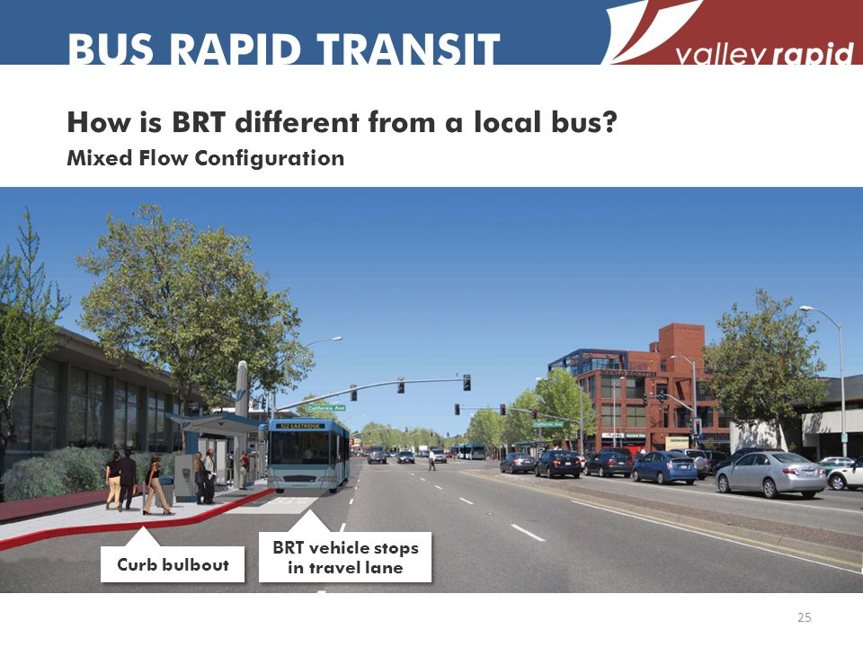 BUS RAPID TRANSIT 25 Curb bulbout BRT vehicle stops in travel lane How is BRT different from a local bus.
