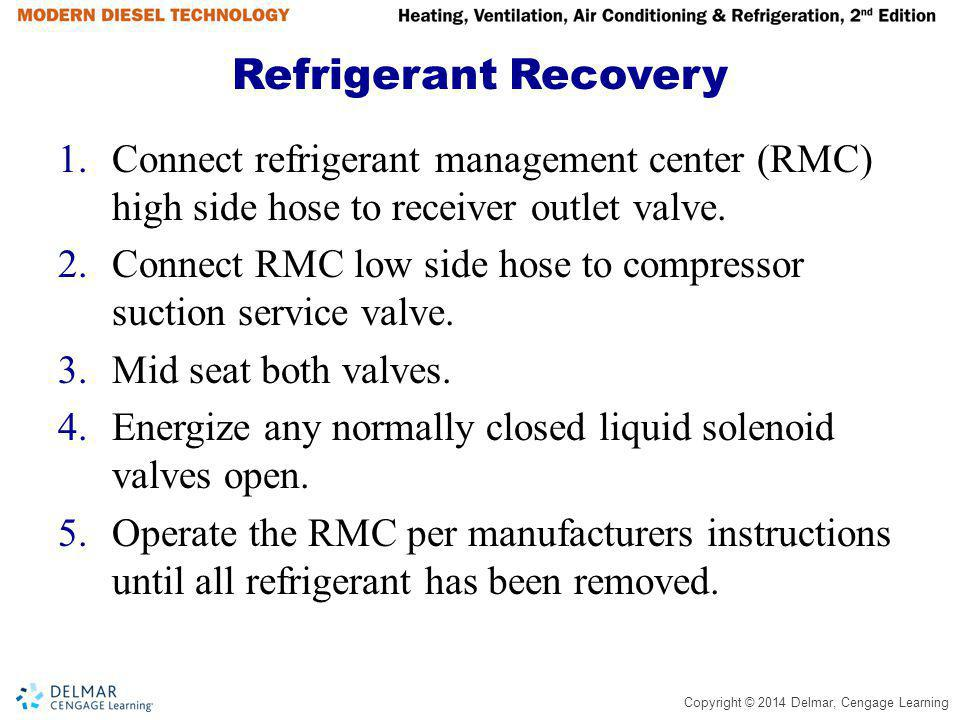 Copyright © 2014 Delmar, Cengage Learning Refrigerant Recovery 1.Connect refrigerant management center (RMC) high side hose to receiver outlet valve.