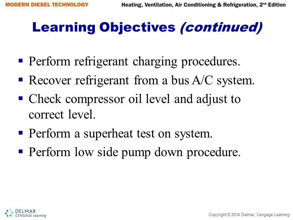 Copyright © 2014 Delmar, Cengage Learning Summary (continued) If suction pressure of the evaporator outlet reaches the MOP setting the valve will close, preventing further refrigerant flow until suction pressure is reduced.