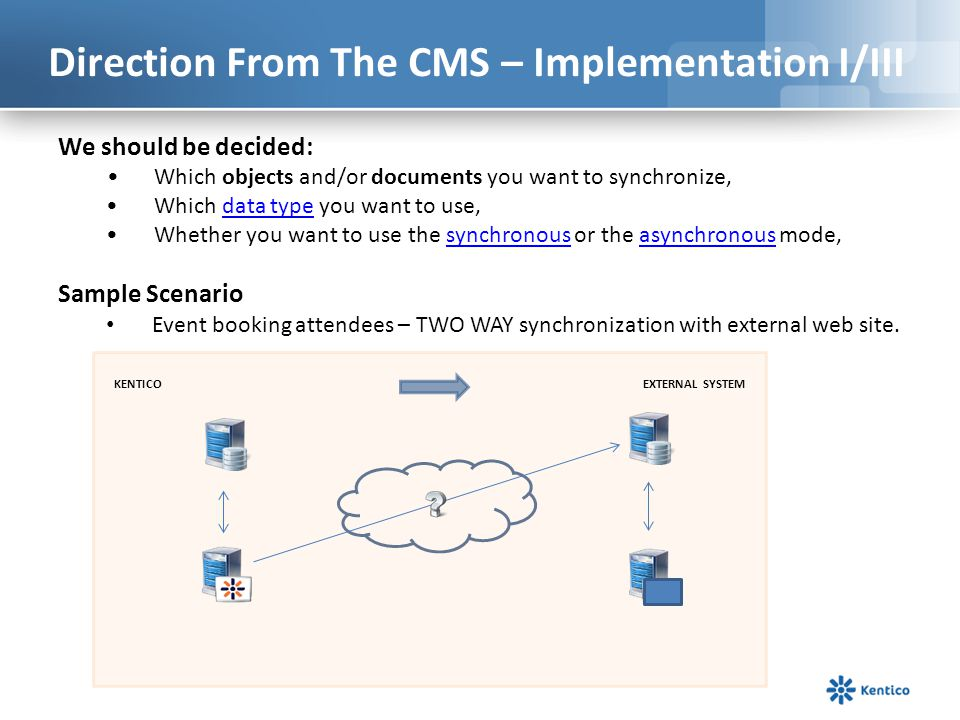 Direction From The CMS – Implementation I/III We should be decided: Which objects and/or documents you want to synchronize, Which data type you want t