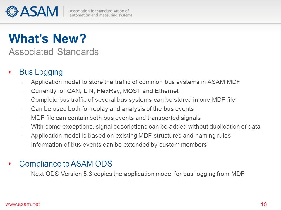 Whats New? Associated Standards 10 Bus Logging Application model to store the traffic of common bus systems in ASAM MDF Currently for CAN, LIN, FlexRa
