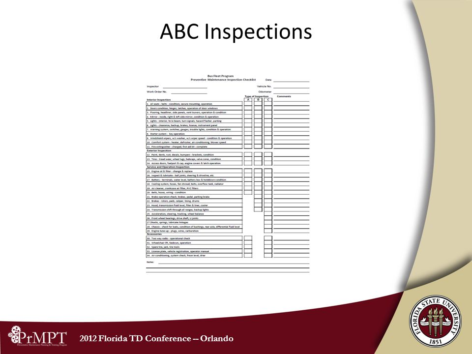2012 Florida TD Conference -- Orlando ABC Inspections