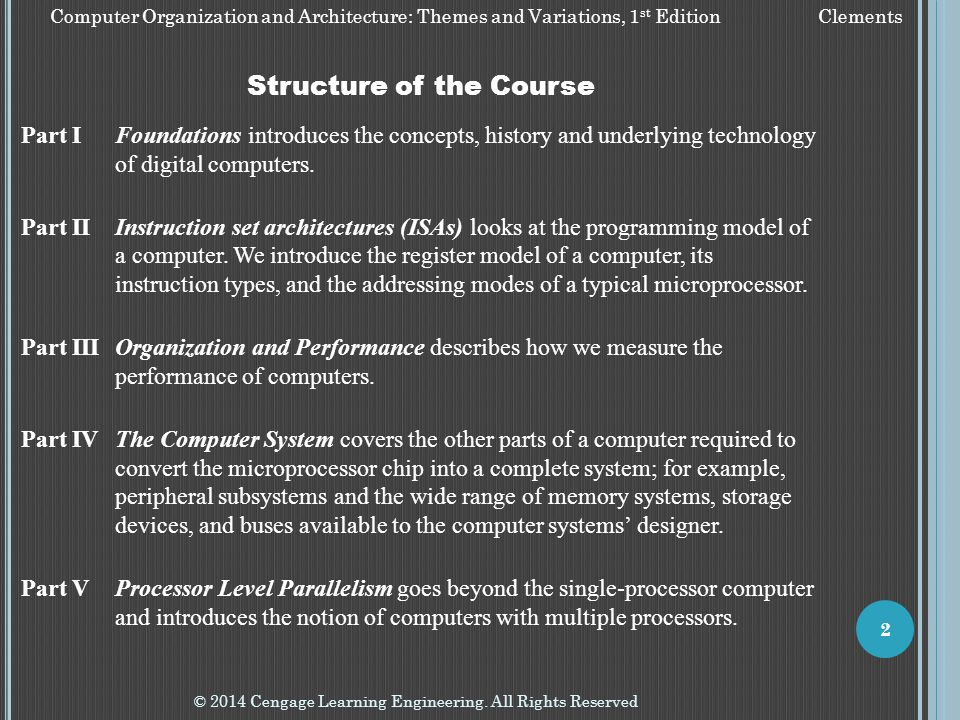 Computer Organization and Architecture: Themes and Variations, 1 st Edition Clements © 2014 Cengage Learning Engineering. All Rights Reserved 2 Struct
