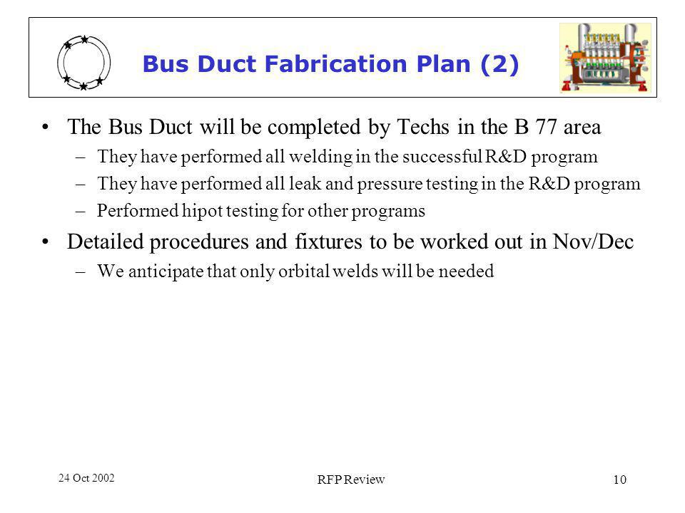 24 Oct 2002 RFP Review10 Bus Duct Fabrication Plan (2) The Bus Duct will be completed by Techs in the B 77 area –They have performed all welding in the successful R&D program –They have performed all leak and pressure testing in the R&D program –Performed hipot testing for other programs Detailed procedures and fixtures to be worked out in Nov/Dec –We anticipate that only orbital welds will be needed