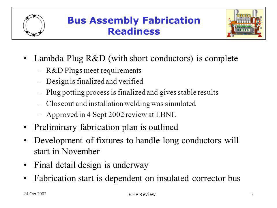 24 Oct 2002 RFP Review7 Bus Assembly Fabrication Readiness Lambda Plug R&D (with short conductors) is complete –R&D Plugs meet requirements –Design is finalized and verified –Plug potting process is finalized and gives stable results –Closeout and installation welding was simulated –Approved in 4 Sept 2002 review at LBNL Preliminary fabrication plan is outlined Development of fixtures to handle long conductors will start in November Final detail design is underway Fabrication start is dependent on insulated corrector bus