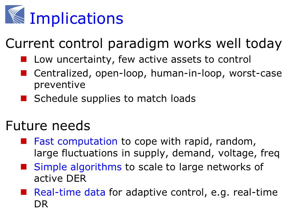 Implications Current control paradigm works well today Low uncertainty, few active assets to control Centralized, open-loop, human-in-loop, worst-case preventive Schedule supplies to match loads Future needs Fast computation to cope with rapid, random, large fluctuations in supply, demand, voltage, freq Simple algorithms to scale to large networks of active DER Real-time data for adaptive control, e.g.