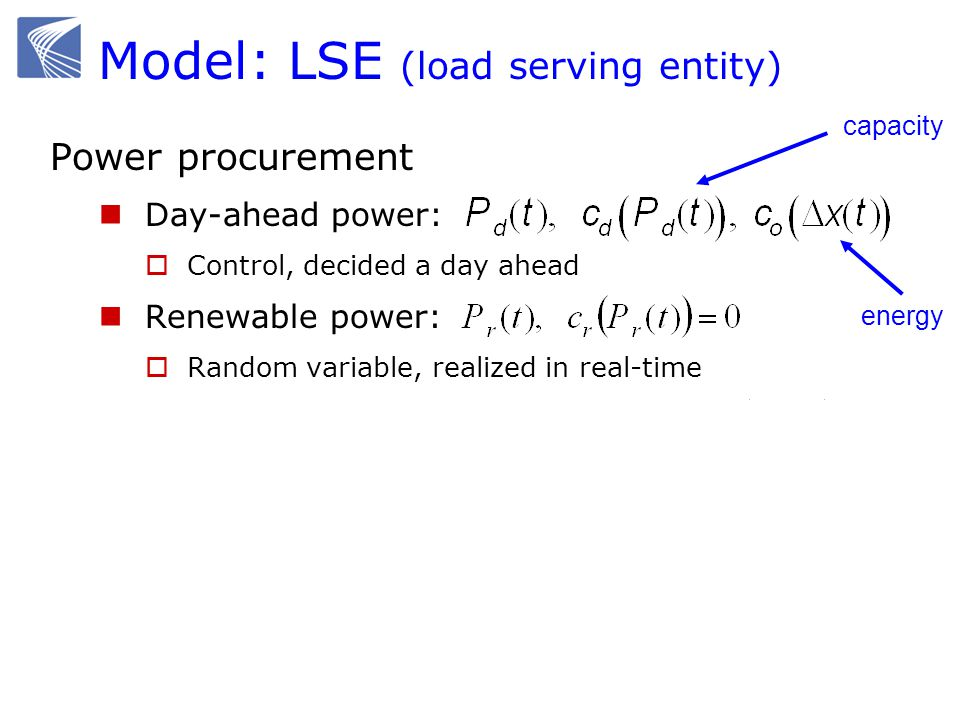 Model: LSE (load serving entity) Power procurement Day-ahead power: Control, decided a day ahead Renewable power: Random variable, realized in real-ti