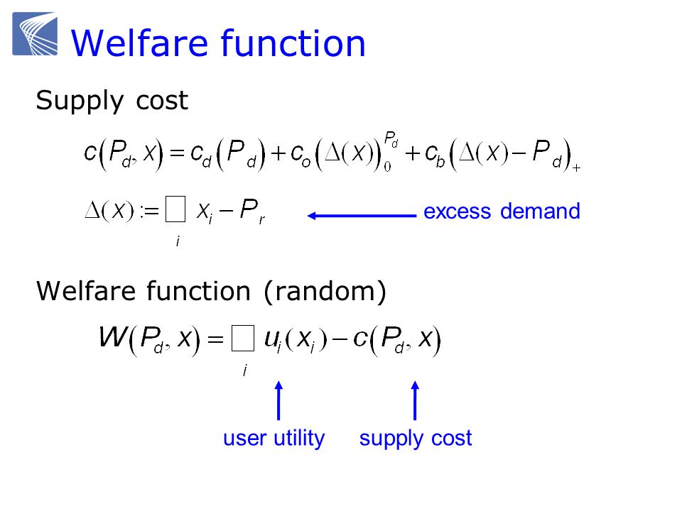 Welfare function Supply cost Welfare function (random) excess demand user utilitysupply cost