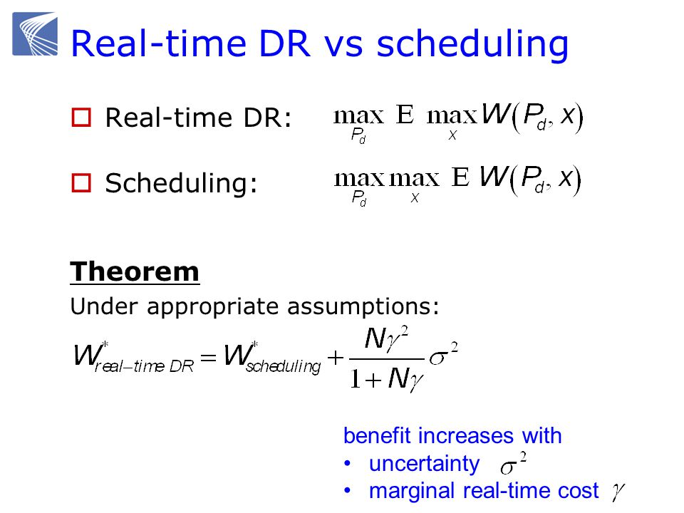 Real-time DR vs scheduling Real-time DR: Scheduling: Theorem Under appropriate assumptions: benefit increases with uncertainty marginal real-time cost