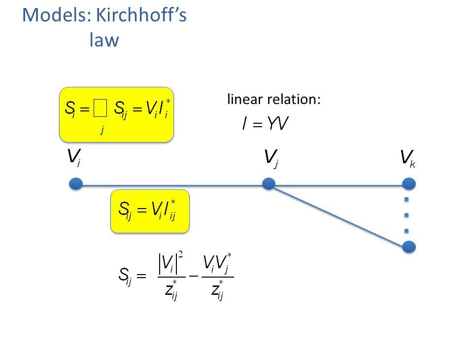 Models: Kirchhoffs law linear relation: