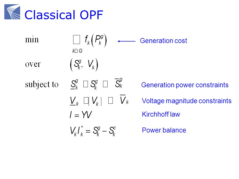 Classical OPF Generation cost Generation power constraints Voltage magnitude constraints Kirchhoff law Power balance