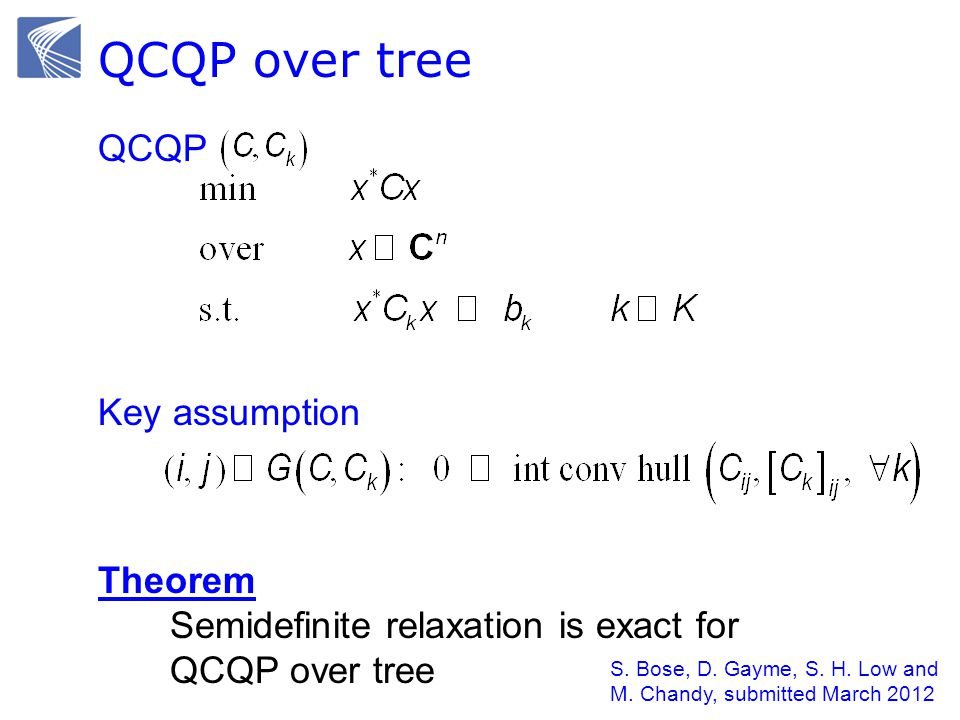 QCQP over tree Key assumption QCQP Theorem Semidefinite relaxation is exact for QCQP over tree S.