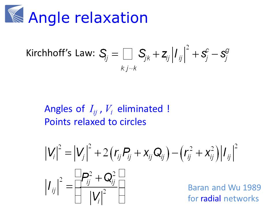 Ohms Law: Angle relaxation Kirchhoffs Law: Baran and Wu 1989 for radial networks Angles of I ij, V i eliminated .