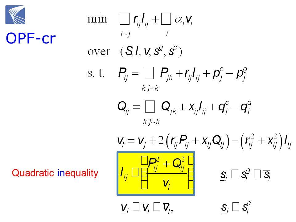 Quadratic inequality OPF-cr