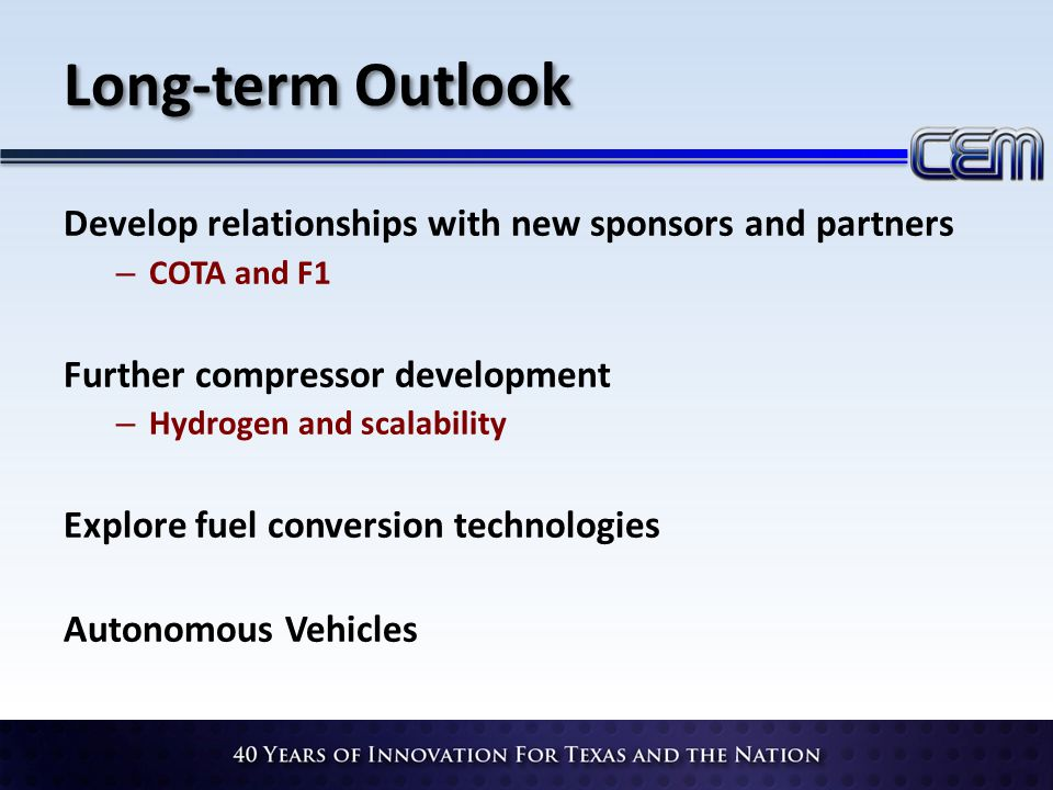 Long-term Outlook Develop relationships with new sponsors and partners – COTA and F1 Further compressor development – Hydrogen and scalability Explore