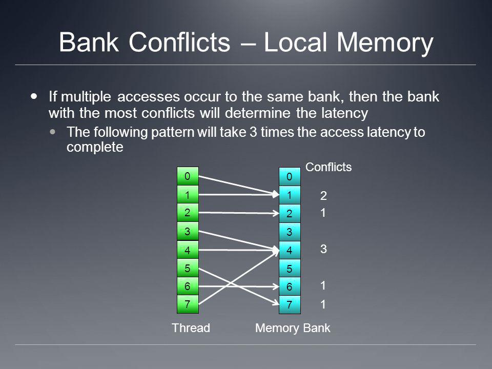 Bank Conflicts – Local Memory If multiple accesses occur to the same bank, then the bank with the most conflicts will determine the latency The follow
