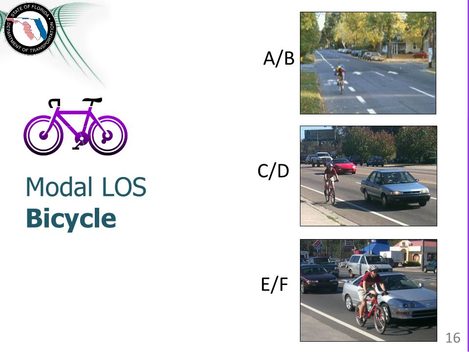 Modal LOS Bicycle A/B E/F C/D 16
