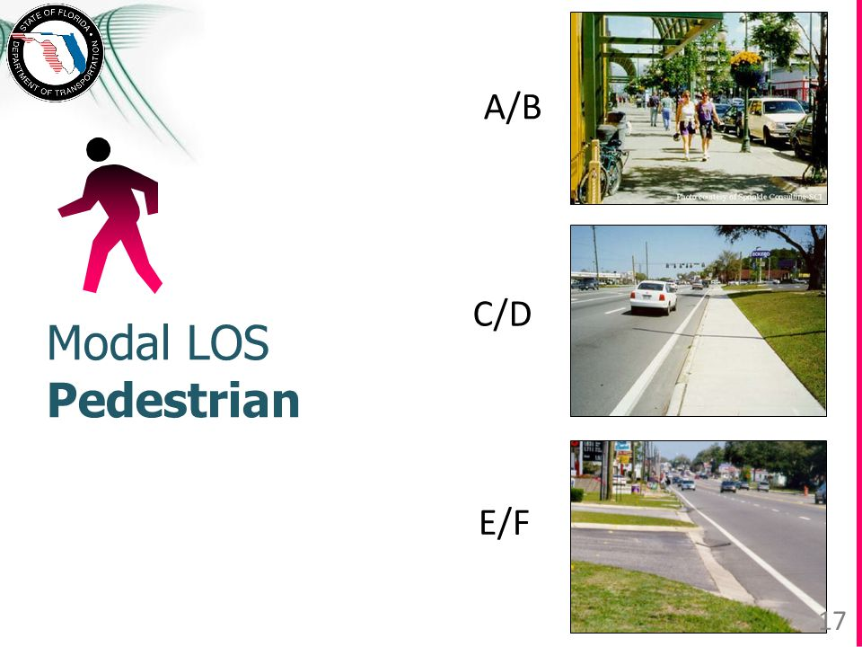 Modal LOS Pedestrian A/B E/F C/D 17