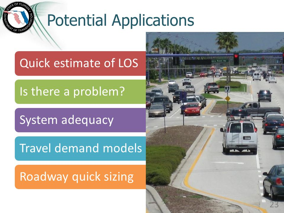 Potential Applications Quick estimate of LOSIs there a problem?System adequacyTravel demand modelsRoadway quick sizing 23