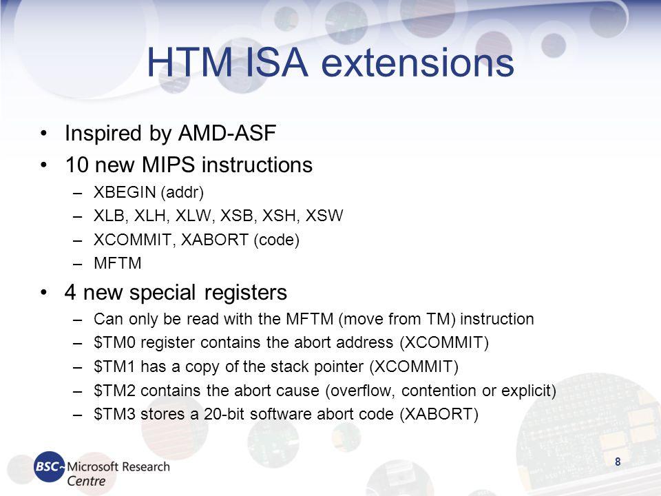 HTM ISA extensions Inspired by AMD-ASF 10 new MIPS instructions –XBEGIN (addr) –XLB, XLH, XLW, XSB, XSH, XSW –XCOMMIT, XABORT (code) –MFTM 4 new speci