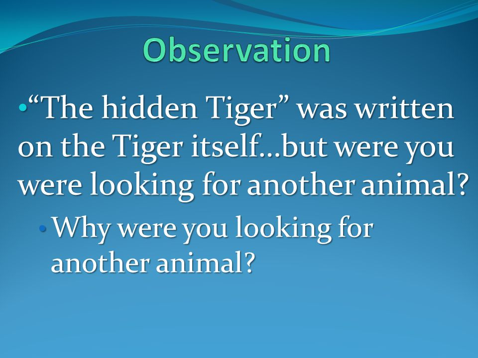 The hidden Tiger was written on the Tiger itself…but were you were looking for another animal.