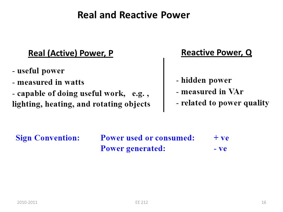2010-2011EE 21216 Real and Reactive Power Real (Active) Power, P - useful power - measured in watts - capable of doing useful work, e.g., lighting, he