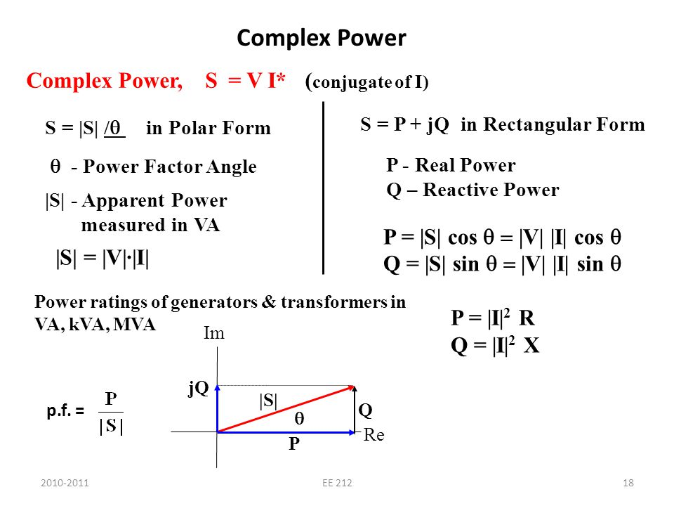 2010-2011EE 21218 Complex Power Complex Power, S = V I* ( conjugate of I) S = |S| / in Polar Form - Power Factor Angle |S| - Apparent Power measured i