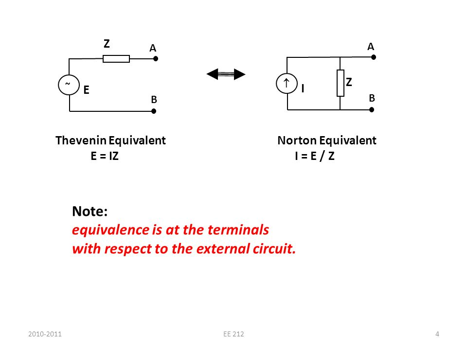 ~ A B Z E A B Z I Thevenin Equivalent E = IZ Note: equivalence is at the terminals with respect to the external circuit. Norton Equivalent I = E / Z 2