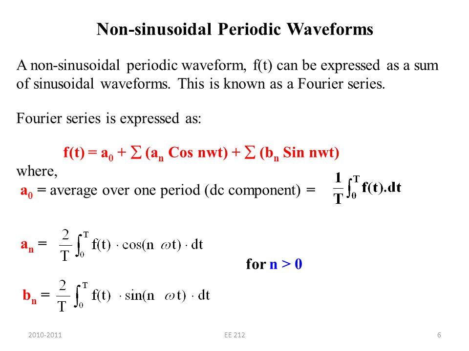 Non-sinusoidal Periodic Waveforms A non-sinusoidal periodic waveform, f(t) can be expressed as a sum of sinusoidal waveforms.