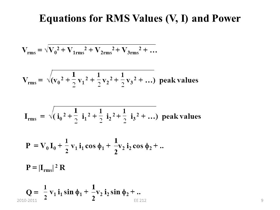 Example: Non-sinusoidal AC source Find the RMS current and power supplied to the circuit elements.