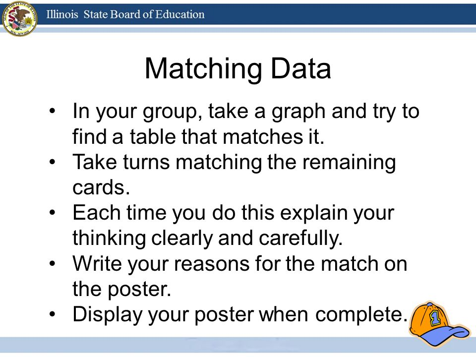 Matching Data In your group, take a graph and try to find a table that matches it.