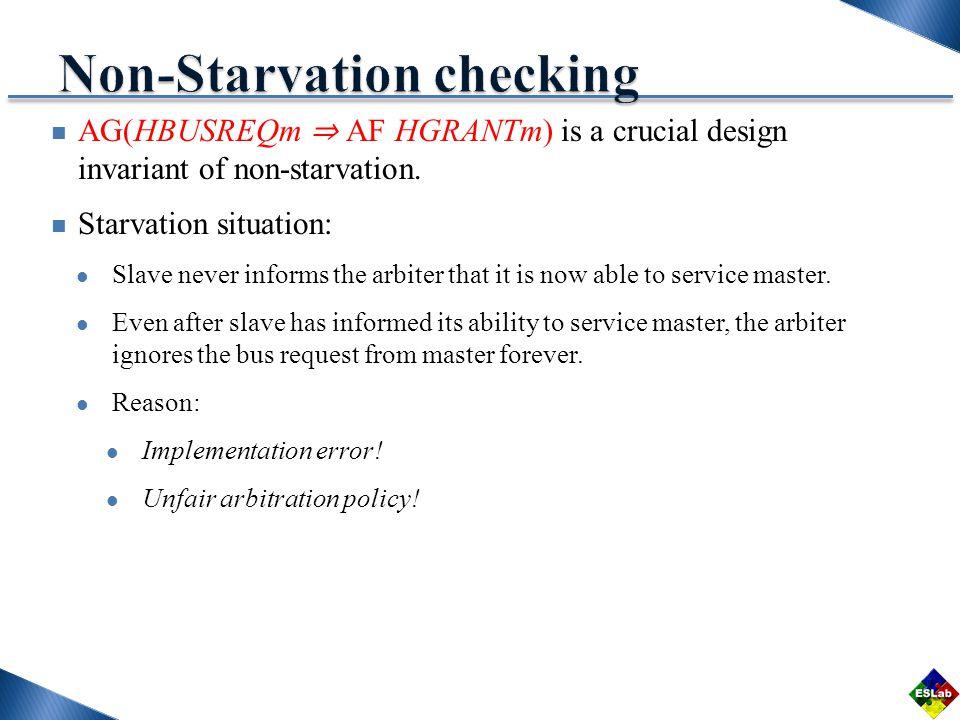 AG(HBUSREQm AF HGRANTm) is a crucial design invariant of non-starvation.