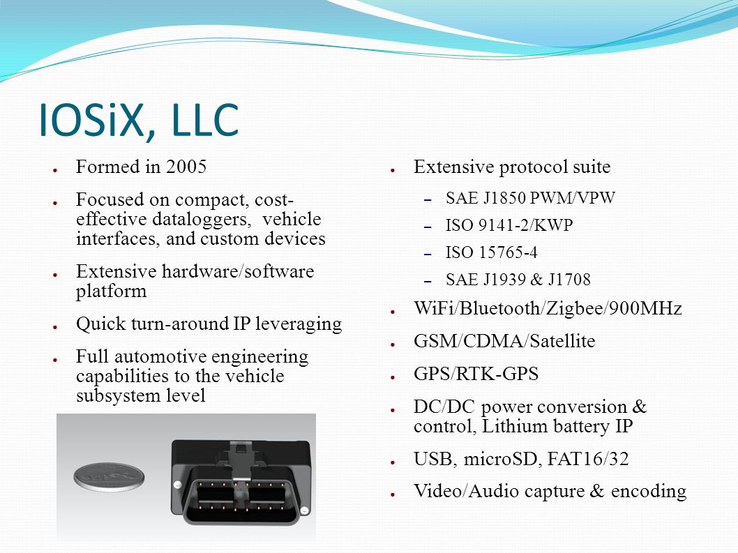 IOSiX, LLC Formed in 2005 Focused on compact, cost- effective dataloggers, vehicle interfaces, and custom devices Extensive hardware/software platform