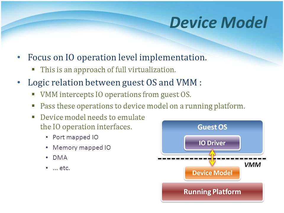 Device Model Focus on IO operation level implementation. This is an approach of full virtualization. Logic relation between guest OS and VMM : VMM int